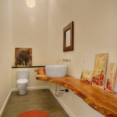 love wood counter - The Orchard - eclectic - bathroom - seattle - Fivedot Design Build Wood Countertops, Contemporary Bathroom, Wood Slab, Eclectic Bathroom, Bathroom Countertops, Wooden Countertops, Bathroom Design, Wood Bathroom, Diy Countertops