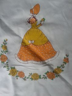 Bonnet lady tablecloth. Square. Cream fabric prairie girl. Victorian inspired hoop dress. Orange yellow and floral. Hand painted.. $10.00, via Etsy.