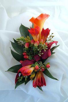 corsage orange calla lily