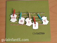 Tarjeta de Navidad con pinzas