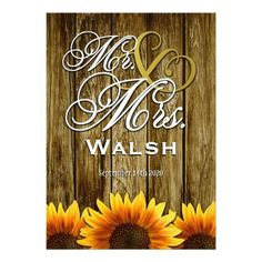 Mr & Mrs Western Sunflower Wedding Invitations
