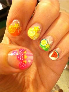 My attempt at fruity nails.  Hard to get a clear pic because they are so shiny.