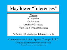 Speechie Freebies: Mayflower Inferences! Pinned by SOS Inc. Resources. Follow all our boards at pinterest.com/sostherapy/ for therapy resources.