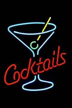 "Cocktails Martini Glass Logo Beer Bar Neon Light Sign 18""x 14"" [High…"