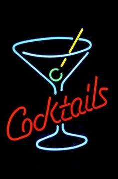 "Cocktails Martini Glass Logo Beer Bar Neon Light Sign 18""x 14"" [High…"