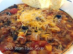 Black Bean Taco Soup (Freezer Meal) -And not only is it yummy, but it is so easy - just dump all the ingredients in, mix together, and simmer for about 25 minutes. It's totally fail-proof.
