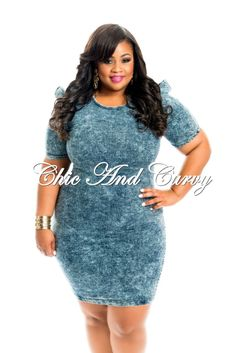 New Arrival New Plus Size Bodycon in Denim with Structured Shoulders and Zipper in Back available at: http://www.chicandcurvy.com/bodycons/product/10406-new-plus-size-body-con-dress-in-grey-1x-2x-3x