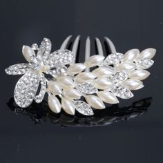 New Rhinestone Pearl Butterfly Hair Comb Pin Tiara Wedding Silvery White 13