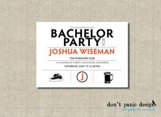 Modern Bachelor Party Invitation - Orange and Black Digital Printable - Custom Colors - BBQ or Birthday Invitation, anniversary, retirement