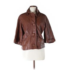 Pre-owned Bagatelle Faux Leather Jacket Size 12: Brown Women's Jackets... (305 DKK) ❤ liked on Polyvore featuring outerwear, jackets, brown, imitation leather jacket, faux leather jacket, synthetic leather jacket, brown faux leather jacket and vegan jacket