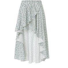 Caroline Constas Adelle Wrap Skirt ($595) ❤ liked on Polyvore featuring skirts, floral, floral print skirt, floral wrap skirt, floral skirt, wrap skirt and flounce hem skirt