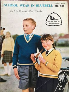 Patons knitting pattern book School Wear In Bluebell, 1960s