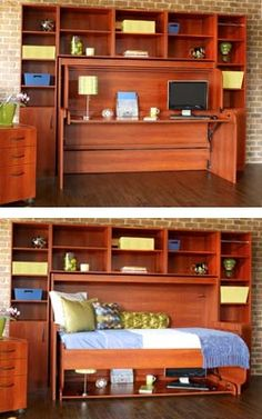 NEAT IDEA! Hide Away DeskBed: both a Desk and a Bed. Great use of space!