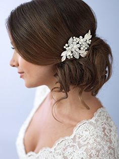 USABride Pretty SilverTone Simulated Pearl Flower Comb Bridal Hair Accessory 2233 -- Find out more about the great product at the image link.(This is an Amazon affiliate link and I receive a commission for the sales)
