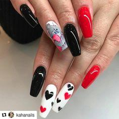 #Repost @kahanails with @repostapp ・・・ #walentynki #walentinesnails #paznokcie #nails #heart #bear #sweetnails #acrylicnails #rednails #black #paznokcie #paznokcieakrylowe #tarnow
