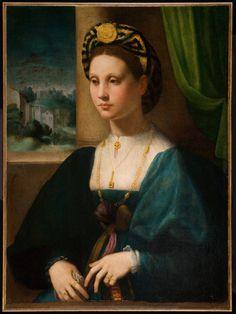 Domenico Puligo, Portrait of a Lady, Ball State University Museum of Art Renaissance Mode, Costume Renaissance, Renaissance Portraits, Renaissance Paintings, Renaissance Clothing, Renaissance Fashion, Italian Renaissance, Italian Outfits, Italian Fashion