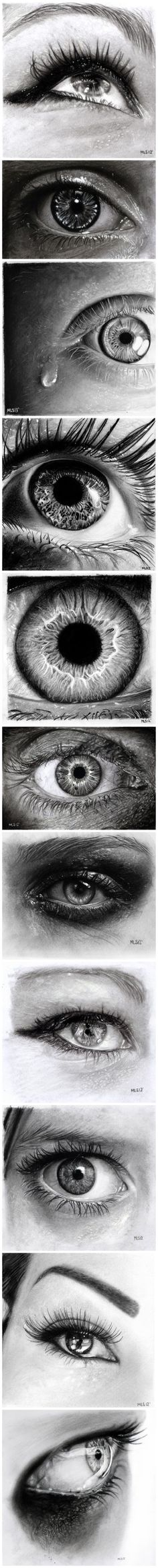 eyes---Pencil drawings...yes, drawings!