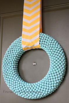 Easter and Spring wreath. Love it! So simple. We have a huge supply of bubblegum beads to choose from. Visit us at www.fizzypops.com