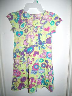 Hanna Andersson Lime Green Butterfly Paisley Floral Heart S/S Dress 120 6X 7 #HannaAndersson #Dress