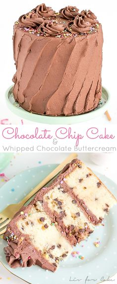 Chocolate Chip Cake with Whipped Chocolate Buttercream. Take the classic birthday cake up a few notches with this easy and delicious cake! | livforcake.com