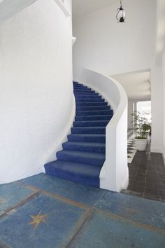 A blue staircase at Trident Castle, Jamaica
