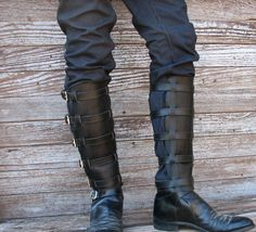 Steampunk Black Leather Shin Guards Shinguards or by VampieOodles, $75.00