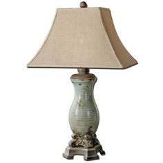 Uttermost 'Andelle' Glazed Ceramic Table Lamp (11,485 DOP) ❤ liked on Polyvore featuring home, lighting, table lamps, lamps, blue, ceramic lights, blue ceramic lamp, uttermost table lamps, ceramic table lamps and uttermost lighting