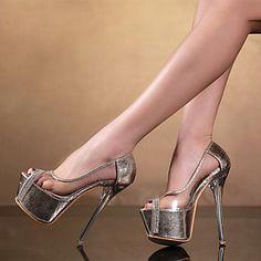 Calçados Femininos Courino Salto Agulha Saltos/Peep Toe Sandálias Festas & Noite Prateado/Dourado - BRL R$ 239,37