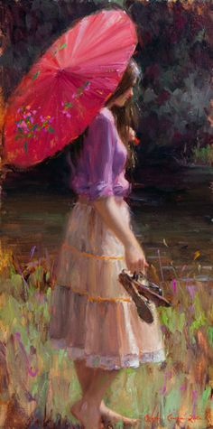 ~Bryce Cameron Liston Pink-Parasol-oil-24x12