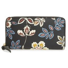Women's Tory Burch Kerrington - Hopewell Continental Wallet ($185) ❤ liked on Polyvore featuring bags, wallets, hopewell floral small, floral bags, tory burch, flower print bag, tory burch wallet and zip around wallet