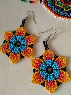 Beaded Flowers Patterns, Beaded Earrings Patterns, Seed Bead Earrings, Diy Earrings, Beading Patterns, Beaded Jewelry, Seed Beads, Earring Tutorial, Bijoux Diy