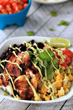 Grilled Tilapia Bowls with Chipotle Avocado Crema | LoveGrowsWild.com