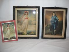 Vintage Pinkie And Blue Boy Framed Pictures