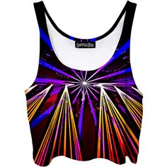 Crazy Light Show Crop Top Psychedelic Concert Art Acid Trip Tank Top... ($40) ❤ liked on Polyvore featuring tops, crop tops, grey, women's clothing, crop shirt, print crop tops, gray top, cropped tops and grey crop top