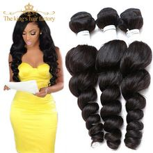 Kings Hair Factory 7A Unprocessed Brazilian Loose Wave Virgin Hair 3 Bundles Brazilian Virgin Hair Loose Wave Hair Weave Bundles(China (Mainland))