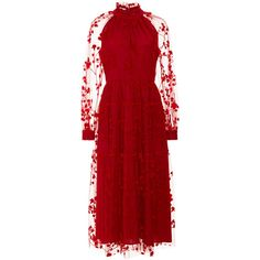 Red Lace Dress | Moda Operandi (£1,005) ❤ liked on Polyvore featuring dresses, floral print midi dress, lace overlay cocktail dress, red cocktail dress, lace dress and floral dresses