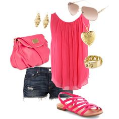 Pink and Gold // Summer Outfit!, created by allisonmcg99 on Polyvore