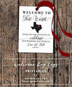 Texas Wedding Welcome Bag Tags