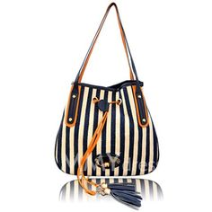 $11.85 Casual Women's Shoulder Bag With Striped and Tassels Design