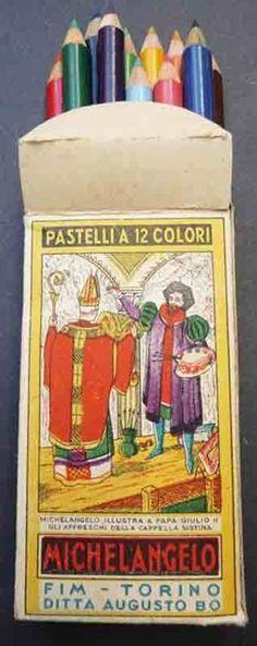 MICHELANGELO Vintage Box of 12 Coloured Pencils - old Italian Shop Stock