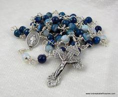 Miraculous Medal Rosary Beads by unbreakablerosaries.com, $75.00