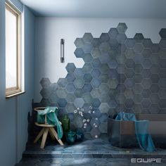Best Indoor Garden Ideas for 2020 - Modern Hexagon Tile Bathroom Floor, Hexagon Tiles, Bathroom Flooring, Tile Floor, Rustic Bathroom Designs, Bathroom Interior Design, Bathroom Design Inspiration, Sketch Inspiration, Blue Tiles