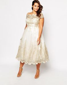 Chi Chi Plus | Chi Chi London Plus Metallic Lace Cap Sleeve Midi Prom Dress at ASOS