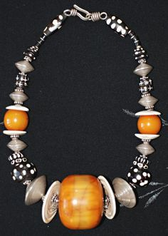 Giant vintage Moroccan Amber - resin bead, Conus shell discs,  Hill Tribe Silver and Batik Bone necklace