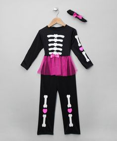 Black & Pink Skelegirl Costume - Toddler & Girls  Halloween Costumes: Kids  Thought parenting couldn't possibly be any scarier? Ever caught a glimpse of something spooky in the corner of your sweetie-pie's eye? Well, sorry, but things are taking a turn for the worse! This October 31st, your little monsters will transform into hideous not-so-full-of-life-forms with the costumes, face-paints and prosthetics in this event. It's been nice knowing you!