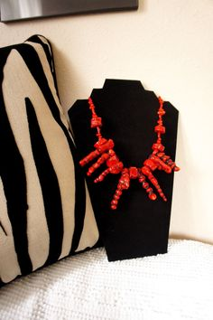 Amazing bold red coral statement necklace by iriselise on Etsy, $74.99