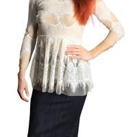 Cream lace peplum style top with side zipper and buttons at back of neck. - $49.00