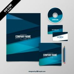 Pack plantilla azul geométrica de empresa