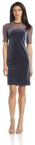 Tiana B Women's Solid Velvet Dress with Matte Mesh Jersey Combo on shopstyle.com