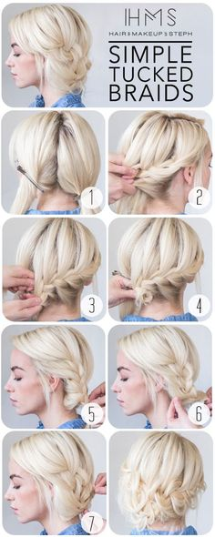 awesome Simple Tucked Braids. Hair and Makeup By Steph. great for medium length hair....